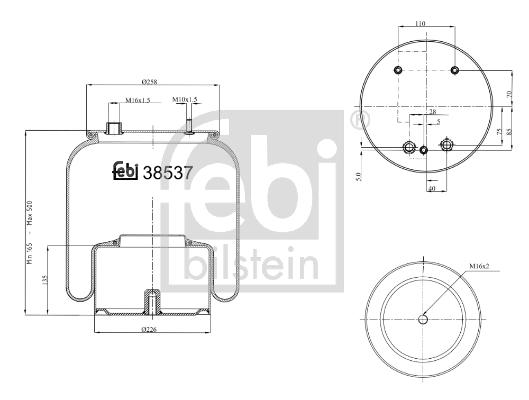 Měch - pneumatické odpružení FEBI BILSTEIN 38537