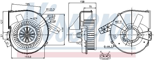 vnitřní ventilátor NISSENS 87028