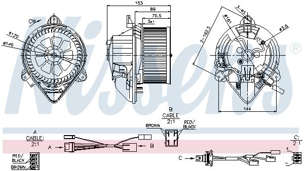 vnitřní ventilátor NISSENS 87050