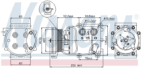 Kompresor klimatizace NISSENS 89071