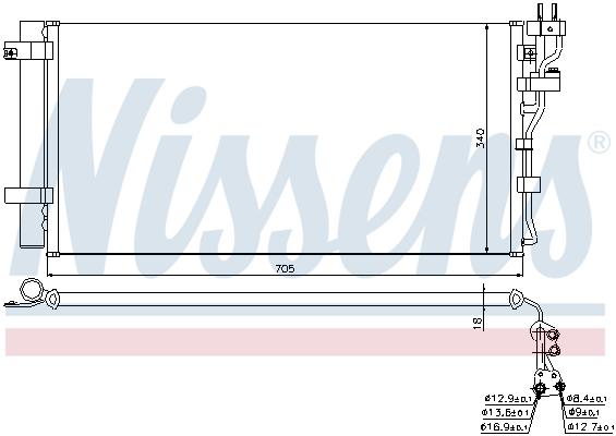 Kondenzátor klimatizace NISSENS 940260
