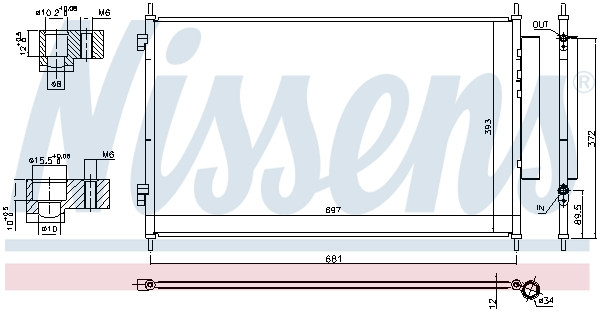 Kondenzátor klimatizace NISSENS 940811