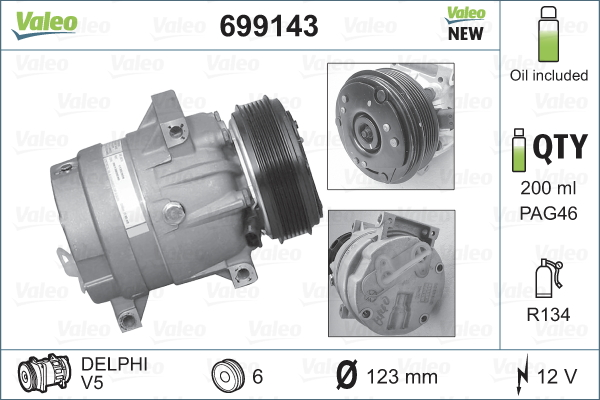 Kompresor klimatizace VALEO 699143