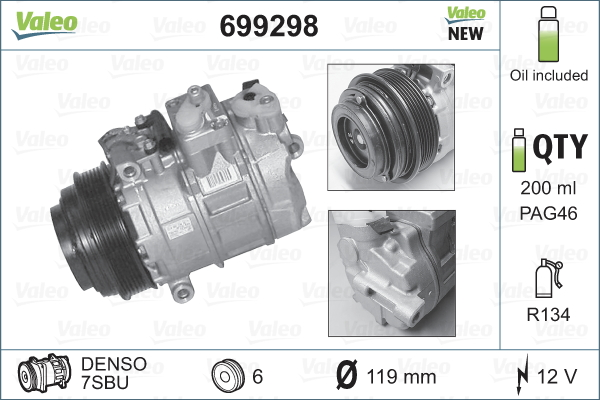 Kompresor klimatizace VALEO 699298