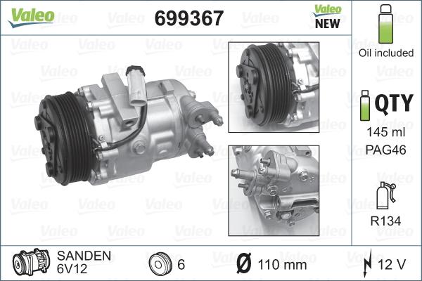 Kompresor klimatizace VALEO 699367