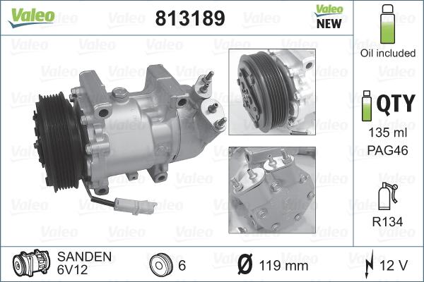 Kompresor klimatizace VALEO 813189