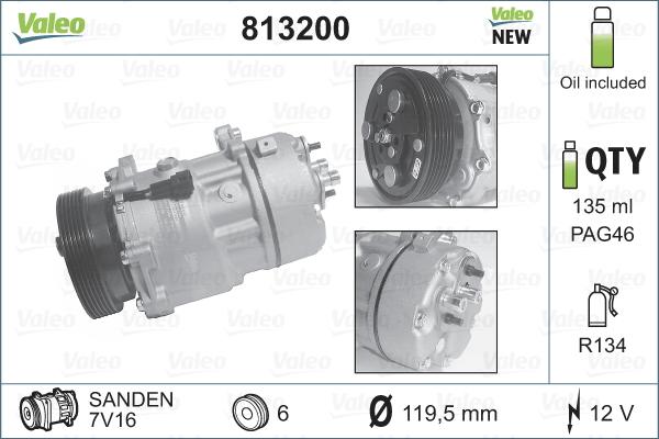 Kompresor klimatizace VALEO 813200
