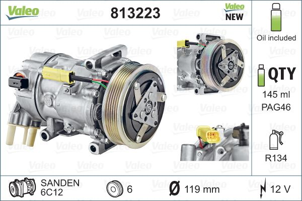 Kompresor klimatizace VALEO 813223