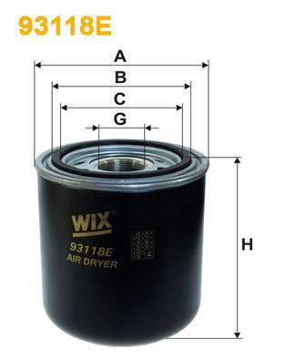 Vysoušeč vzduchu, pneumatický systém WIX FILTERS 93118E
